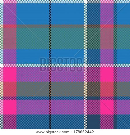 Blue pink pixels pattern seamless fabric texture. Vector illustration.