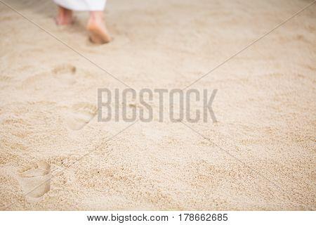 Jesus Leaving Footprints In Sand