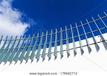 Metal Fence On Modern White Bridge