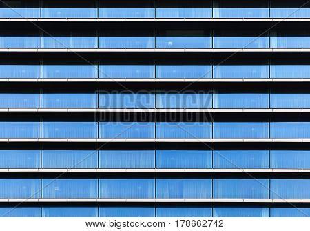 Modern Facade, Wall Made Of Blue Glass