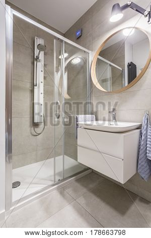 Transparent Showerstall In Bathroom