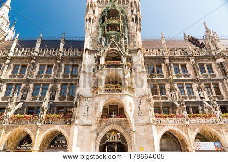 Detail Of Tower Of The New Town Hall, Munich, Bavaria, Germany.