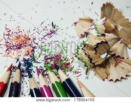 Set of colored pencils, Sharpened, sharp, With shavings from the sharpener