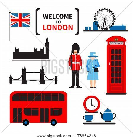 London symbols set isolated on white background. Design elements for flyers or posters and etc. Flat design.