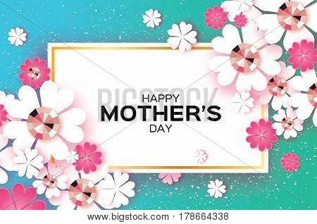 White Floral Greeting card with Brilliant stones. Happy Mothers Day. Women's Day with Paper cut flower. Floral holiday. Beautiful bouquet. Rectangle frame. Pink. Blue. Vector illustration.