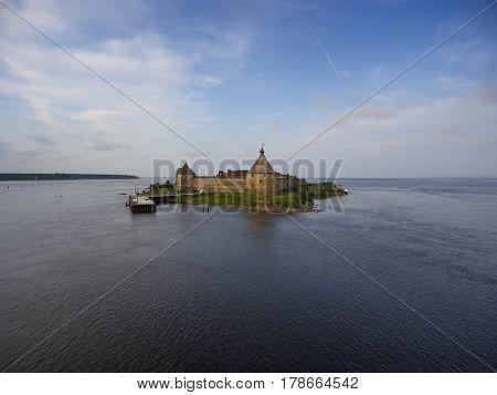 Aerial view on fortress Oreshek on island in Neva river near Shlisselburg town, Leningrad region, Russia