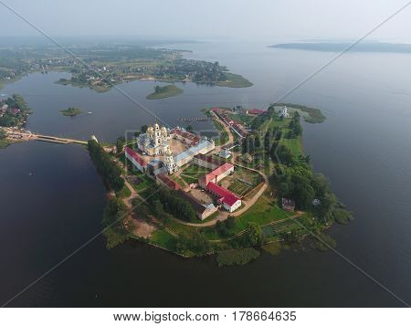 Aerial view on Nilo-Stolobensky (Nil) deserts - Orthodox monastery and the lake Seliger, Tver region, Russia
