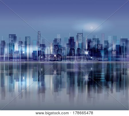 Modern Night City Skyline