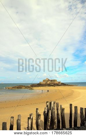 Fort of St Malo at low tide (Brittany France)