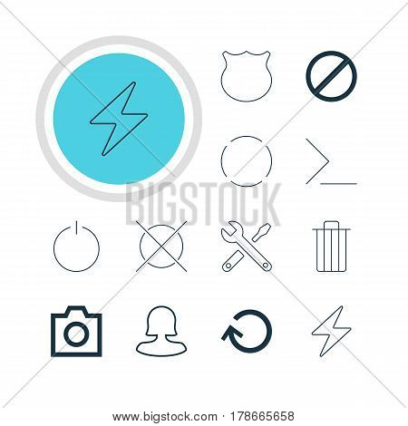 Vector Illustration Of 12 User Icons. Editable Pack Of Bolt, Cancel, Renovate And Other Elements.