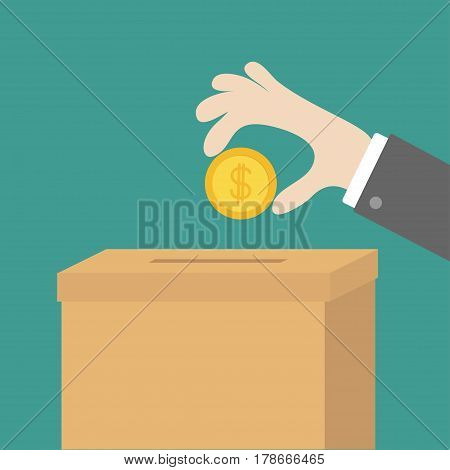 Human hand putting golden coin money with dollar sign into donation paper cardboard box. Helping hands concept. Donate and help. Flat design style. Green background. Vector illustration.