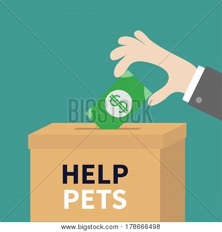 Human hand putting paper money bill with dollar sign into donation paper cardboard box. Helping hands concept. Donate and help pets animals. Flat design style. Green background. Vector illustration.