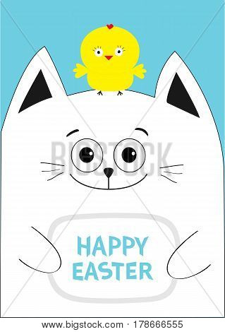 Cat holding Happy Easter text Chicken bird on the head. Greeting card. Baby chick bird friends. Cute cartoon funny character. Blue background. Flat design. Vector illustration
