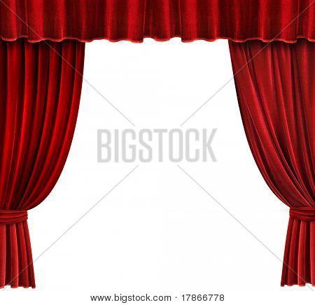 Red Velvet Theater curtains over white background