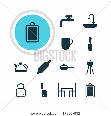 Vector Illustration Of 12 Restaurant Icons. Editable Pack Of Washstand, Faucet, Bakery Roller Elements.