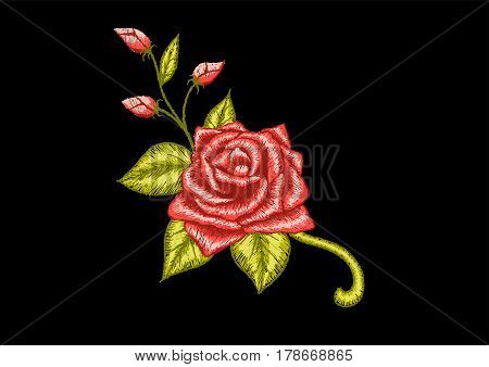 Red Rose embroidery design for neckline. Stock Vector
