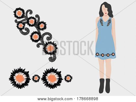 Abstract Black and orange flower embroidery design for girl dress. Stock Vector