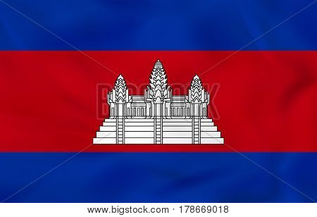 Cambodia Waving Flag. Cambodia National Flag Background Texture.