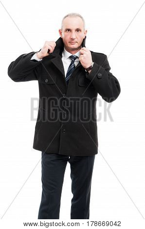 Middle Age Elegant Man Posing Wearing Overcoat