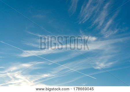 Abstract Sky Background With Plane Trail