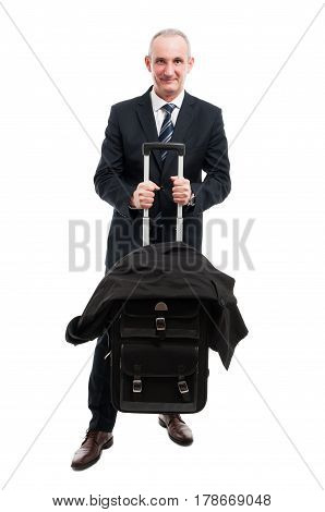 Middle Age Business Man Holding Up His Luggage