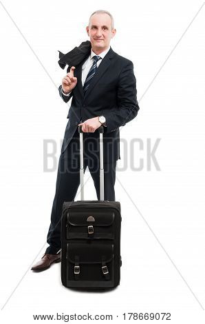 Middle Age Business Man Posing With Carry On Luggage