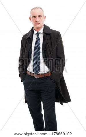 Middle Age Business Man Posing Wearing Raincoat