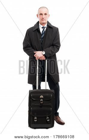 Middle Age Business Man Standing With Carry On Luggage