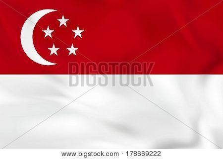 Singapore Waving Flag. Singapore National Flag Background Texture.