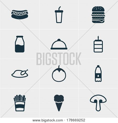 Vector Illustration Of 12 Food Icons. Editable Pack Of Fungus, Eggplant, Grill And Other Elements.