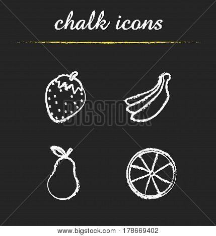 Fruit chalk icons set. Strawberry, bananas bundle, pear, orange. Isolated vector chalkboard illustrations