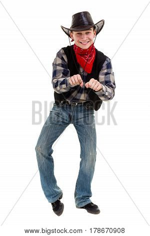 young man in a cowboy hat studio portrait, isolated on white background in full length.