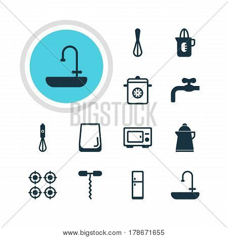 Vector Illustration Of 12 Restaurant Icons. Editable Pack Of Refrigerator , Washstand, Oven Elements.