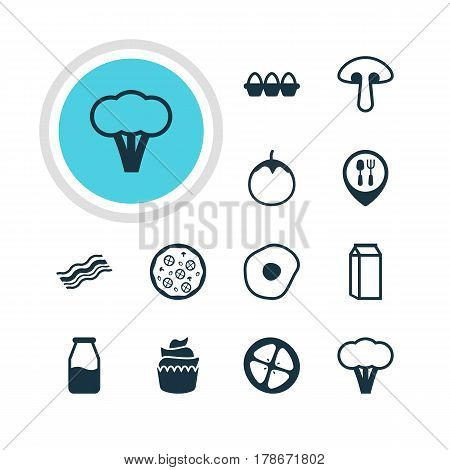 Vector Illustration Of 12 Food Icons. Editable Pack Of Milk, Scrambled Egg, Pizzeria And Other Elements.