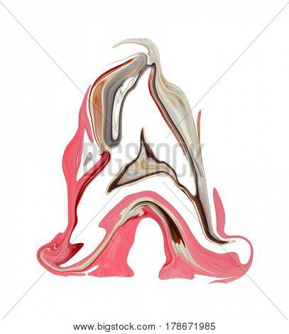 Painted letter A on a white background.