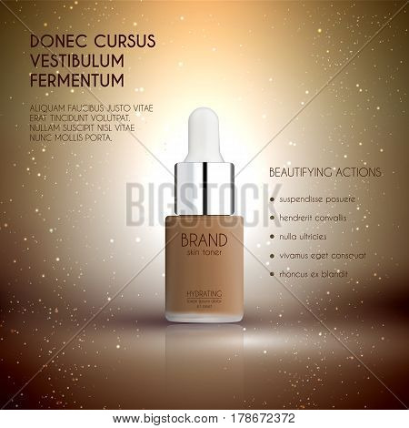 Glamorous foundation ads, glass bottle with foundation and sparkling effects, elegant ads for design, 3d illustration, soft liquid foundation texture