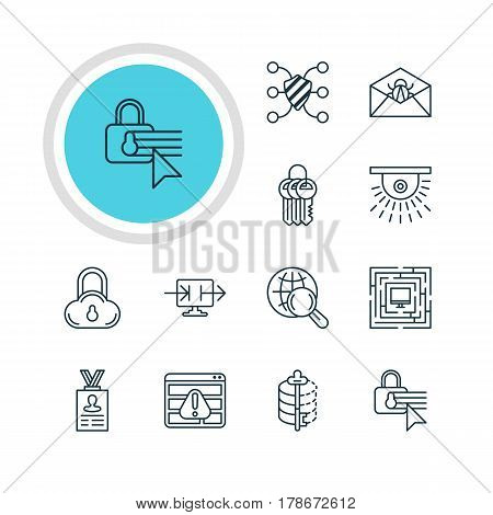 Vector Illustration Of 12 Data Protection Icons. Editable Pack Of Key Collection, Account Data, Internet Surfing And Other Elements.