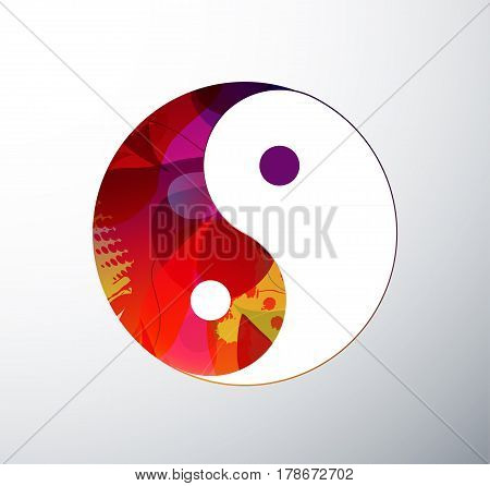 Yin Yang Symbol illustration created from abstract colorful objects.