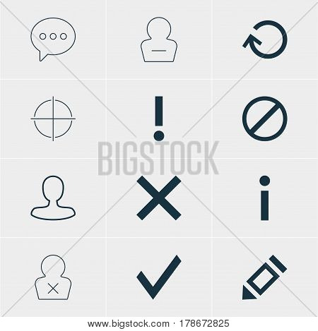 Vector Illustration Of 12 User Icons. Editable Pack Of Message, Wrong, Positive And Other Elements.
