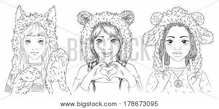 Portraits of cute young women in animal hats. Girl in cat hat and paw gloves. Girl in bear hat making heart sign by her hands. Girl in sheep hat showing peace sign. Vector illustration in hand drawn sketch style for your design, website and prints.