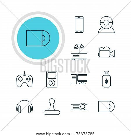 Vector Illustration Of 12 Accessory Icons. Editable Pack Of Game Controller, Smartphone, Floodlight And Other Elements.
