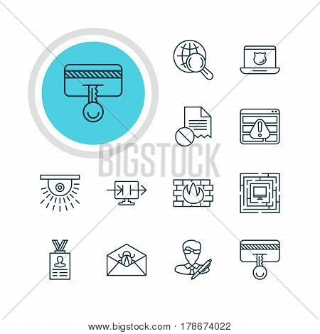 Vector Illustration Of 12 Privacy Icons. Editable Pack Of Network Protection, Corrupted Mail, Send Information And Other Elements.