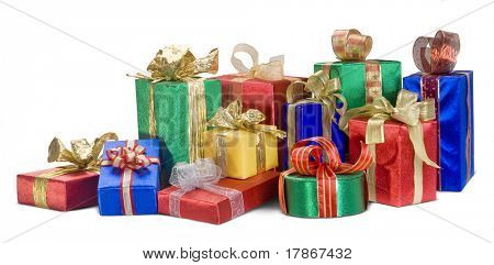 A bright pile of Christmas presents