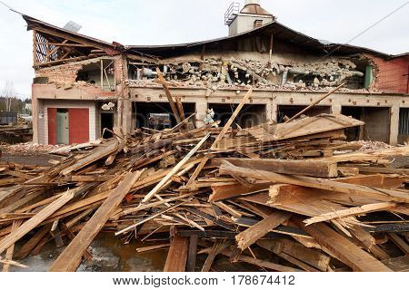 Pile Of Wooden Planks At Demolition Site Ready The Recycling
