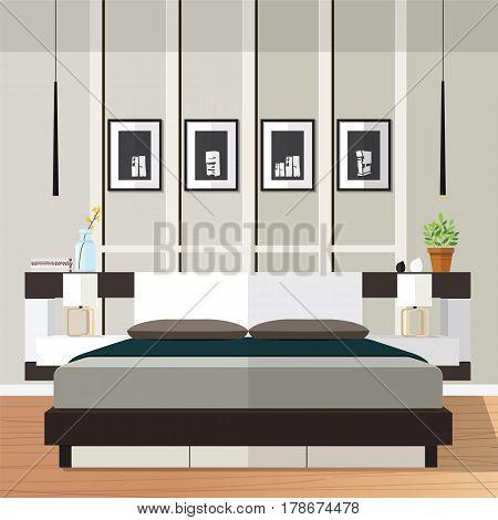 Interior of modern bedroom with furniture. Vector flat illustration.