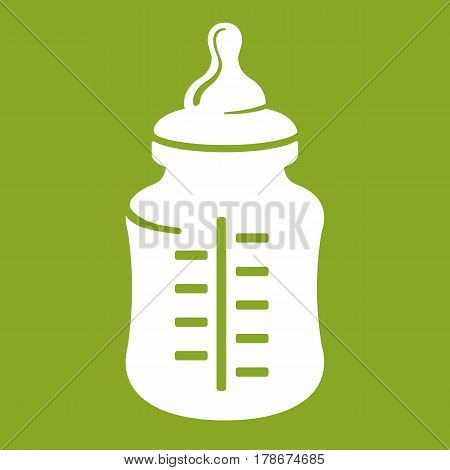 Baby bottle icon isolated on green. Glass or plastic container with milk used by infants and young children. Realistic vector illustration of feeding bottle with teat or nipple to drink directly from.