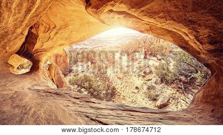 Wide Angle Lens Picture Of The Moonshine Arch, Utah.