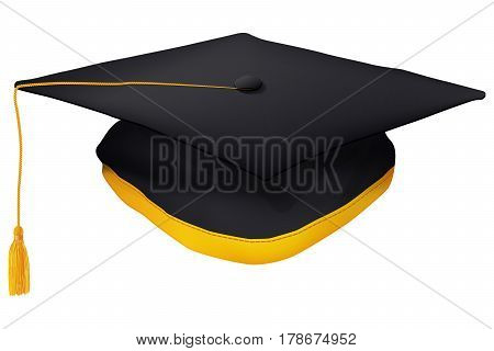 Black Graduation Cap With Gold Tassel Isolated