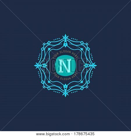 The letter N made in modern line style vector. Luxury elegant frame ornament and ethnic tribal elements. Example designs for Cafe, Hotel, Jewelry, Fashion, Restaurant