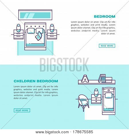 Home and hotel bedroom interior. Kid or teenager bedroom interior. Vector illustration.